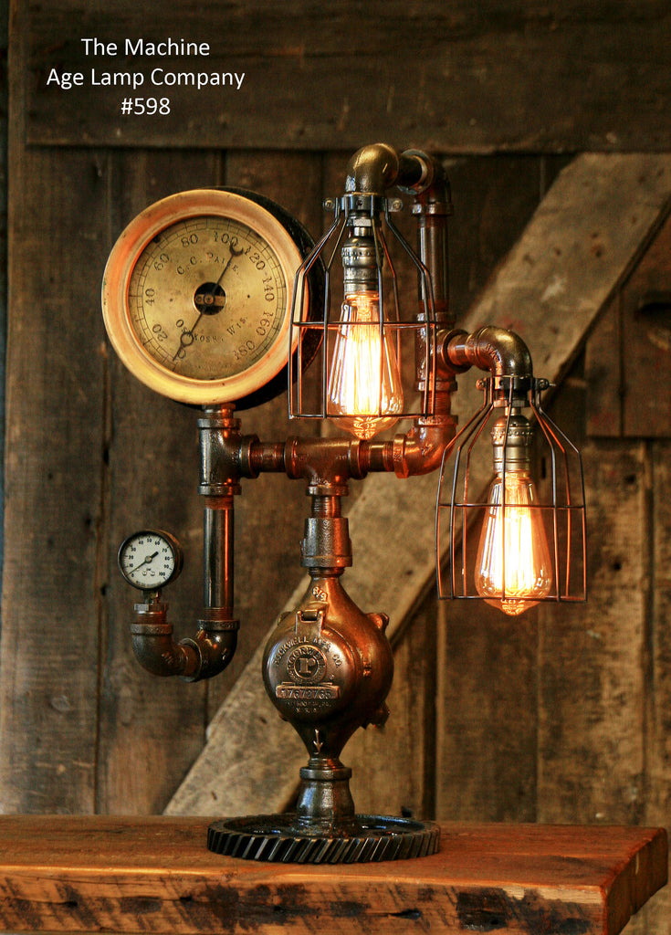 Steampunk Industrial Steam Gauge, Gear Desk Lamp, #598 sold