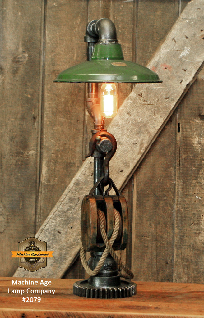 Steampunk Industrial Machine Age Lamps / Barm Pulley / Green Shade / Gear / Lamp #2079