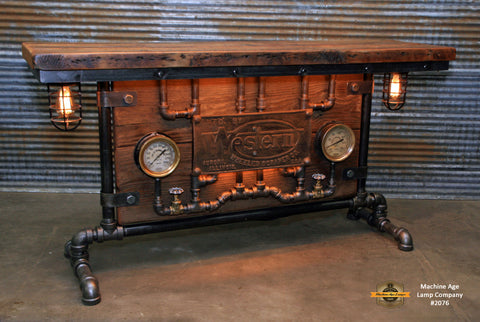 Steampunk Industrial / Barn wood / Steam Gauge / Table / Hallway Sofa / Table #2076