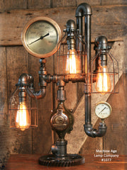 Steampunk Industrial Lamp, Steam Gauge,  #1077 sold