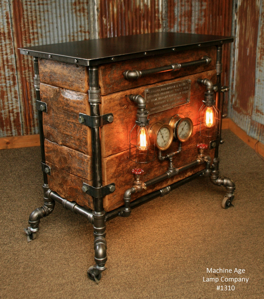 Steampunk industrial bar hostess stand table pub for Stand pub