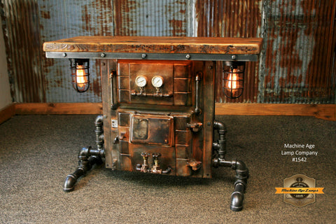 Steampunk Industrial / Antique Boiler Door / Lighting / Barn Wood / Console Hallway Sofa Table / #1542
