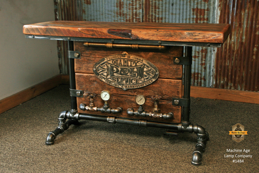 Steampunk Industrial Barn Wood Table Console