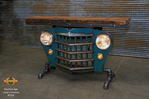 Steampunk Industrial / Original vintage 50's Jeep Willys Grille / Table Sofa Hallway / Greenish  / Table #2334