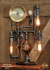 "Steampunk Industrial / Antique 7"" Steam Gauge Lamp / Chicago / Gear Base / Lamp #2172"