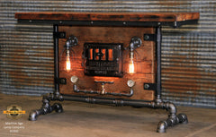 Steampunk Industrial Table / Pub, sofa console / Antique Furnace Door / Barnwood / Table #1950