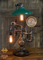 Steampunk Industrial / Machine Age Lamp / Antique Steam Gauge  /  Lamp #2776