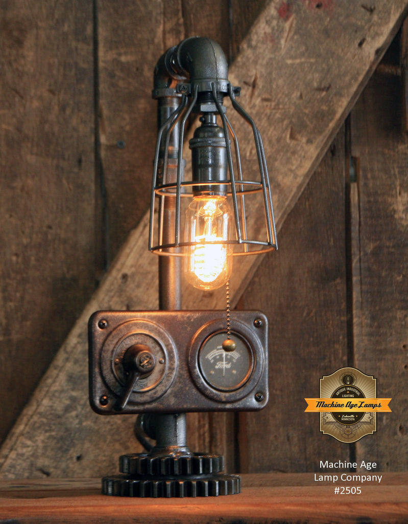 Steampunk Industrial / Antique Ford Model T Dash / Automobile / Automotive / Gear / Lamp #2505