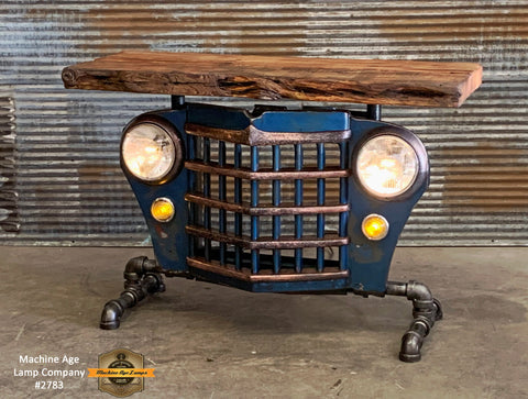 Steampunk Industrial / Automotive / Original vintage 50's Jeep Willys Grille / Table Sofa Hallway / Blue  / Table #2750