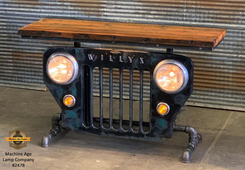 Steampunk Industrial / JEEP Willys / CJ3B / Barn Wood Top / Automotive  / Table #2478 sold