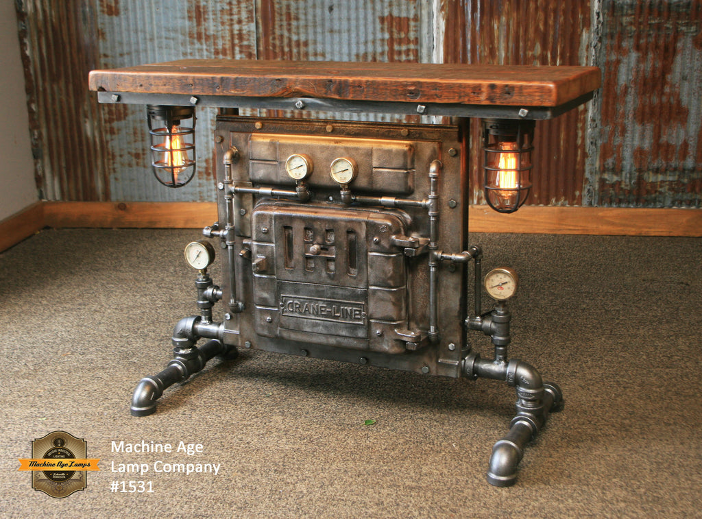 Steampunk Industrial / Antique Boiler Door / Lighting / Barn Wood / Console  Hallway Sofa Table