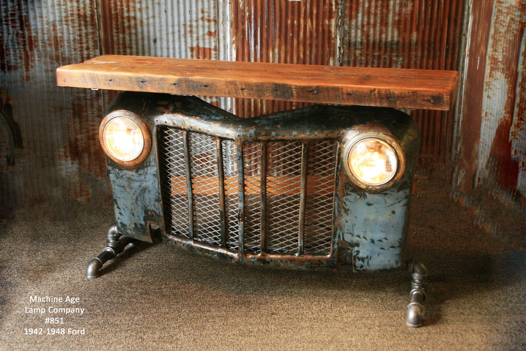 Steampunk Industrial, Antique 1940's Ford Grille Console Table Stand, #851 - SOLD