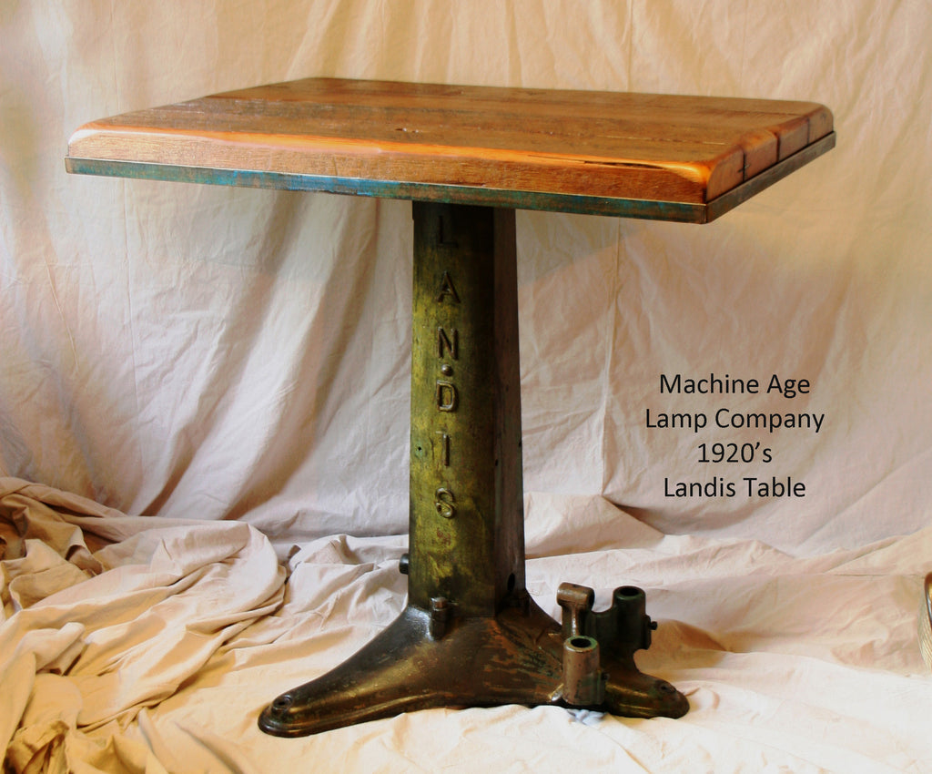 Antique 1920's Pub Table Stand, Reclaimed MN Barn Wood Top - #505 SOLD - 1920's Pub Table Stand, Reclaimed MN Barn Wood Top - #505 SOLD