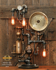 Steampunk Industrial / Antique Steam Gauge and Brass Oiler / Portland ME / Lamp #1824
