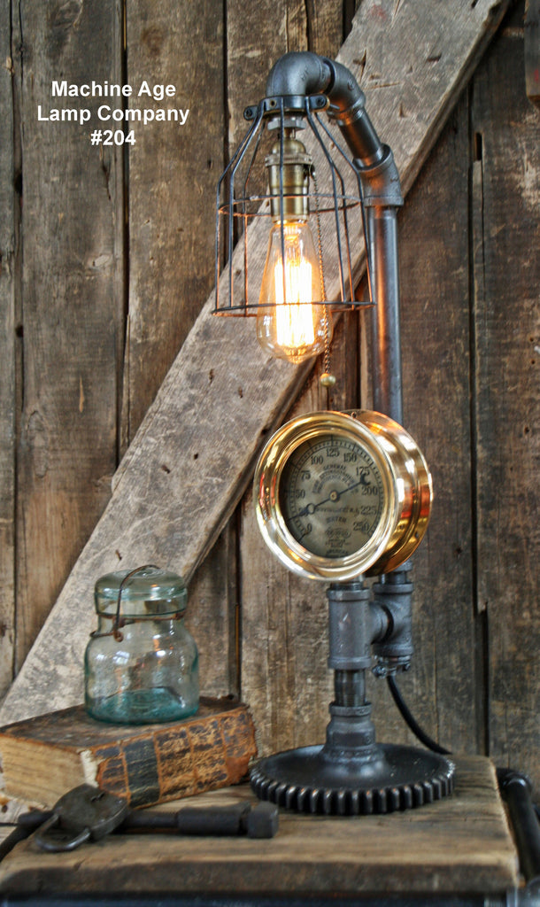 Copy of Steampunk Lamp, Steam Gauge and Gear Base # 3000