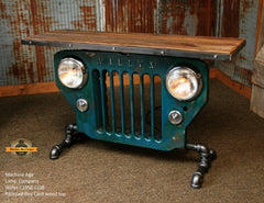 Steampunk Industrial / JEEP Willys / CJ3B / Train Locomotive Box Car Wood Top / Table #1522 sold
