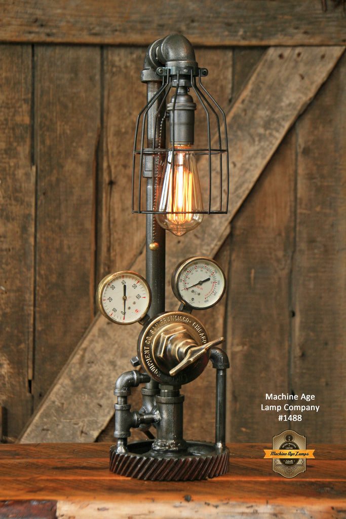Steampunk Industrial Steam Gauge Lamp, Vintage Brass #1488 - SOLD
