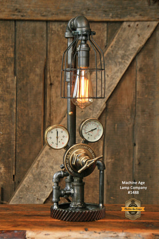 Steampunk Industrial Steam Gauge Lamp, Vintage Brass #1488
