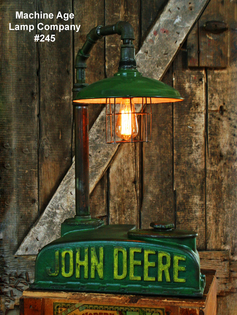 Green John Deere Lamp Shade : Steampunk industrial lamp john deere dash farm tractor