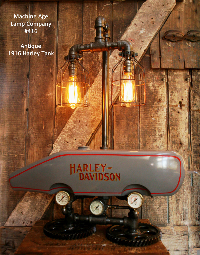 Steampunk Industrial Lamp, 1916 Antique Harley Davidson Motorcycle Gas Tank Light - Lamp #416