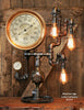 Steampunk Industrial Lamp / Antique Steam Gauge / Gear Base / New York / #1277 sold