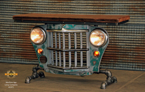 Steampunk Industrial / Willys Jeep / Grill Table / Barnwood Top / Grayish /  Table #