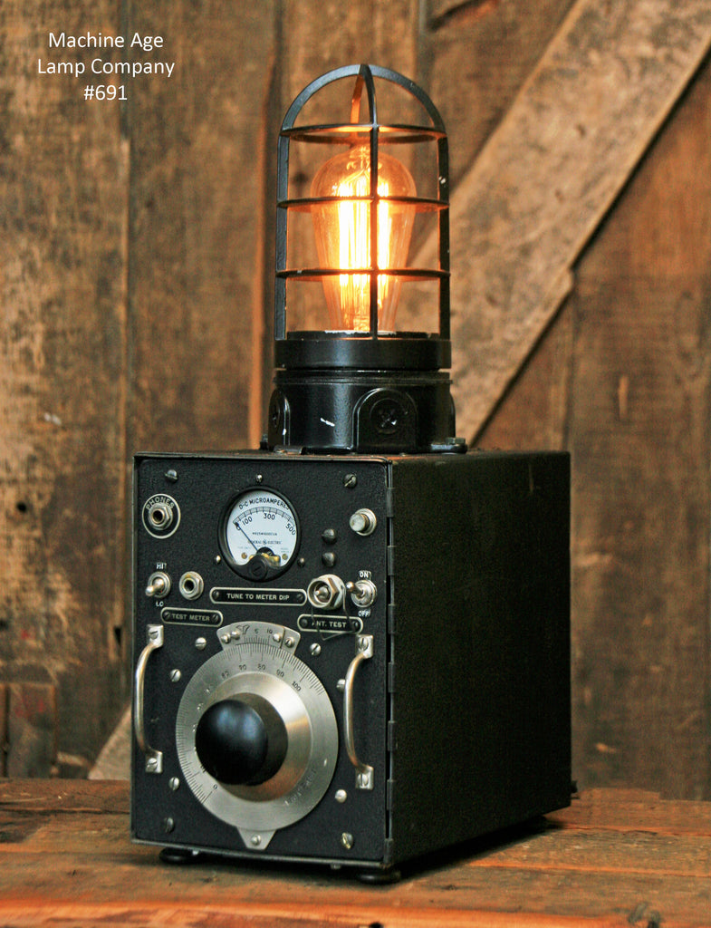 Steampunk Antique U.S. Army Signal Corps Frequency Meter, Light Lamp #691