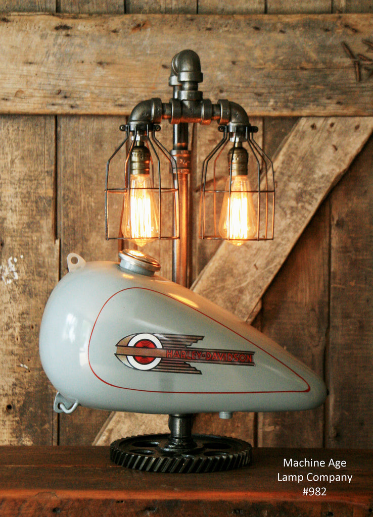 Superior Steampunk Industrial, Motorcycle Harley Davidson Gas Tank Lamp (Left) #982    SOLD
