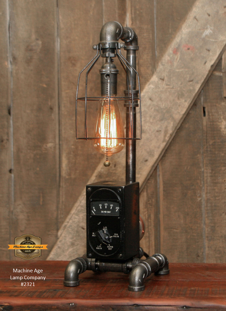 Steampunk Industrial / Aviation / Airplane / Instrument Panel / WW2 / B-25 bomber / Lamp #2321 sold