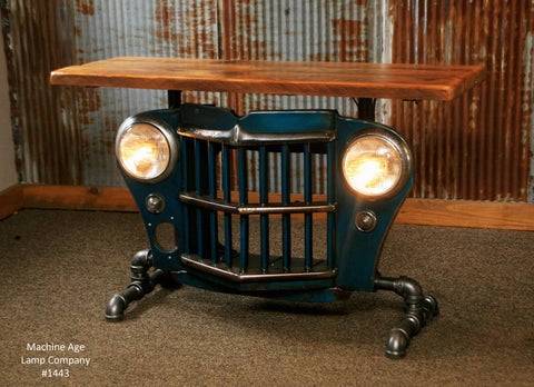 Steampunk Industrial Antique Jeep Willys Grille Table, Console - #1443