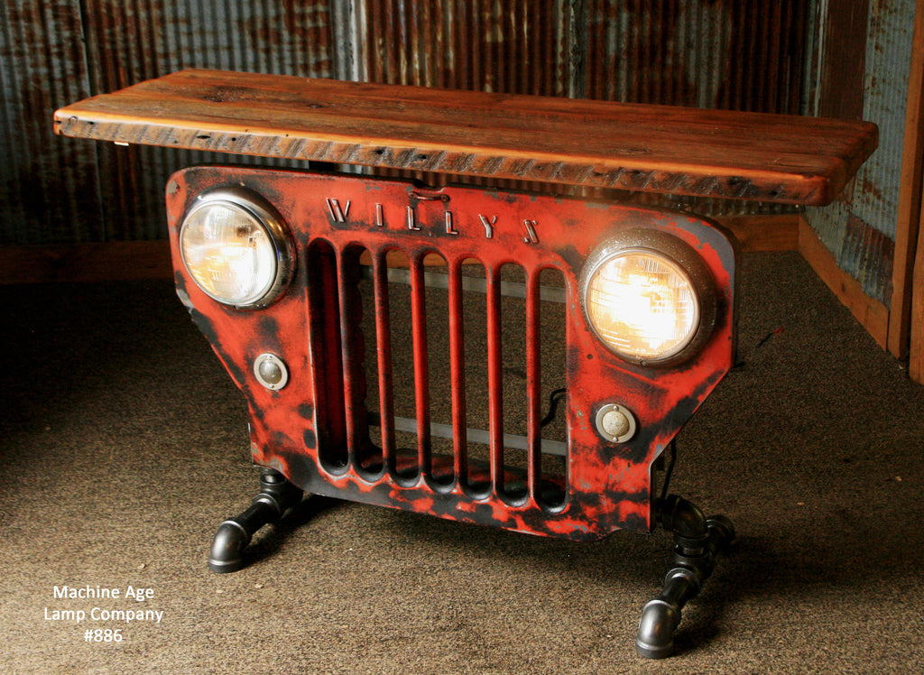 Steampunk Industrial Jeep Willys Grill Table Stand Or