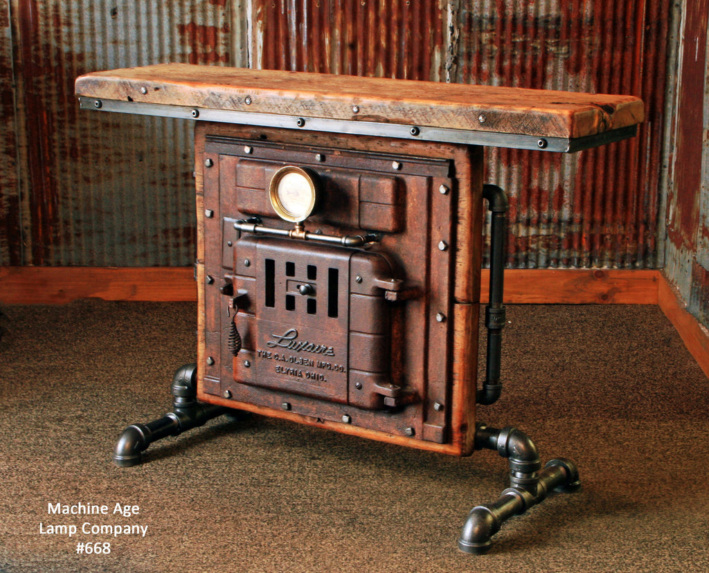 antique steampunk industrial boiler door table stand reclaimed wood t. Black Bedroom Furniture Sets. Home Design Ideas