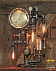 "Steampunk Industrial / Antique 10"" Steam Gauge / Philadelphia / Gear / Lamp #2425"