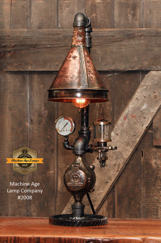 Steampunk Industrial / Antique Copper Shade / Oiler / Steam Gauge / Lamp #2010