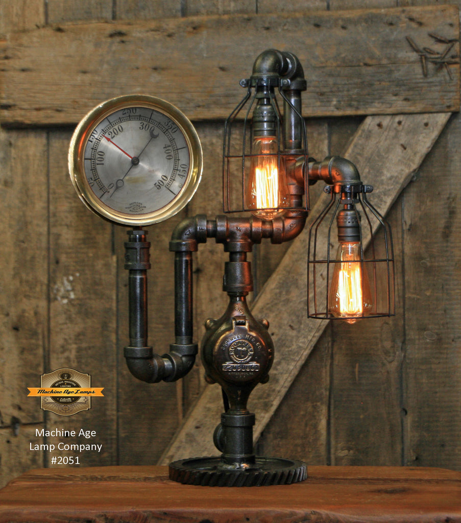 Steampunk Industrial / Antique Steam Gauge Lamp / Gear / Lamp #2051 sold