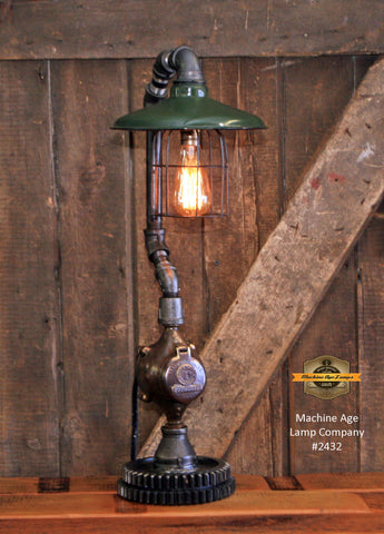 Steampunk Industrial / Antique Service Station Shade / Gear Base / Meter / #2432