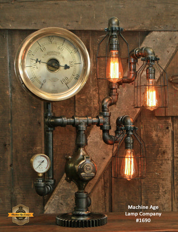 Steampunk Industrial / Chicago / Antique Steam Gauge / Gear / Lamp #1690