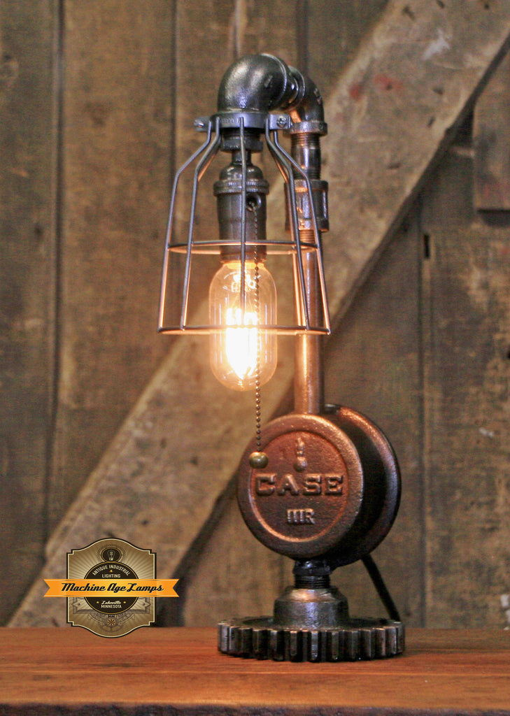 Steampunk Industrial / Antique Case  Tractor Wheel Hub / Gear / Lamp #2701
