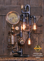 Steampunk Industrial / Steam Gauge Lamp / New York / Oiler / Lamp #2870