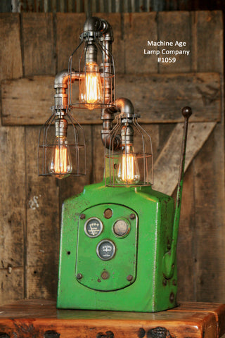 Steampunk lamp, Industrial Machine Age Lamp, Antique John Deere Dash - #1059