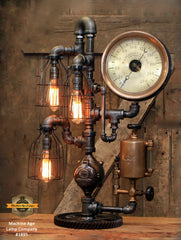 Steampunk Industrial / Antique Steam Gauge and Oiler / Gear / Lamp #1895