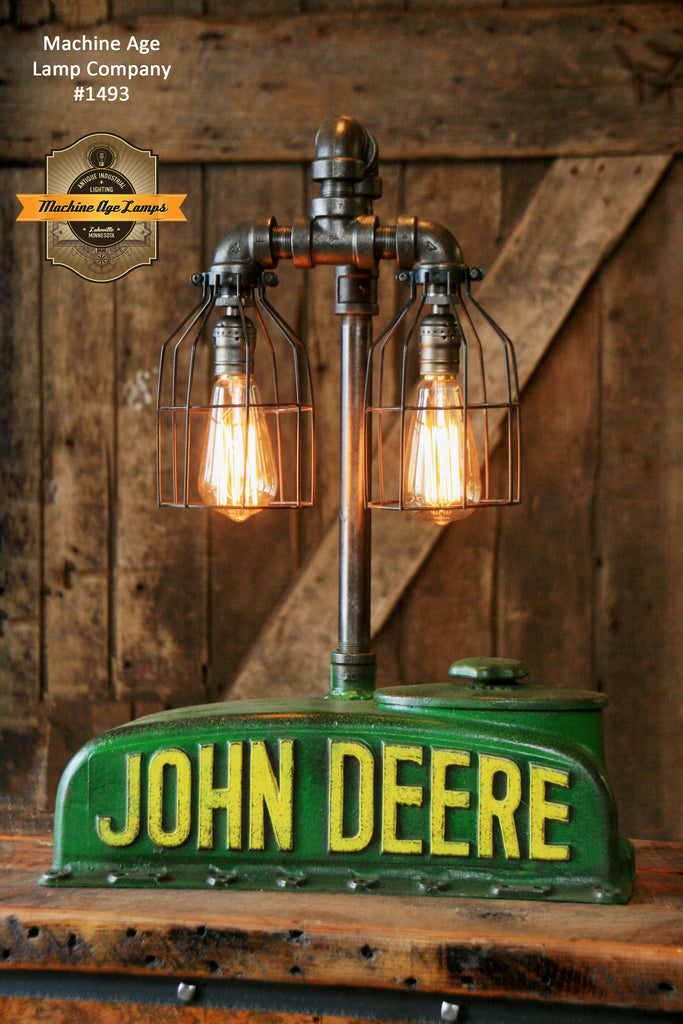 "Steampunk Industrial  Lamp, Antique John Deere ""A"" Farm Tractor - #1493"