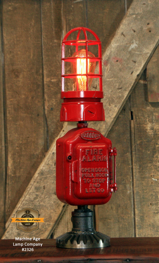 Steampunk Industrial Machine Age Lamp / Fireman / Police / Antique Call box / Alarm / Lamp #2326 sold