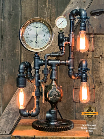 Steampunk Industrial / Machine Age Lamp / Antique Steam Gauge  / Lamp #2770