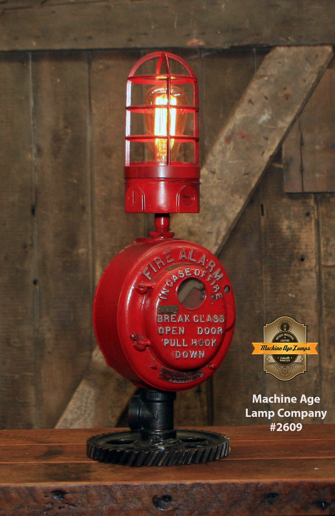 Steampunk Industrial / Fire Alarm Call Box Switch / Gear Base / Fireman / #2609