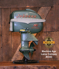Steampunk Industrial / Antique Johnson Boat Motor / Nautical / Marine / Cabin / Lamp #3343