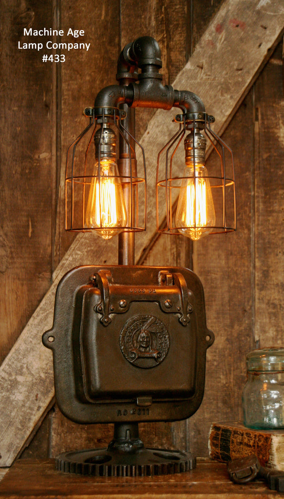 Steampunk Industrial, Indian Stove Door Lamp, #433 - SOLD