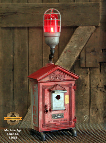 Steampunk Industrial Machine Age Lamp / Fireman / Police / Antique Call box / Alarm / Lamp #2615