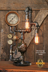 Steampunk Industrial Steam Gauge Lamp, Railraod Locomotive #1463 - SOLD
