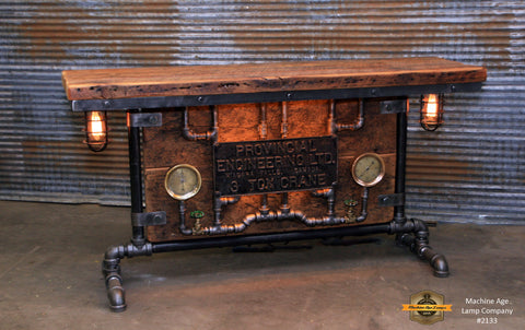 Steampunk Industrial / Barn wood / Steam Gauge / Table / Hallway Sofa / Canada / Table #2133